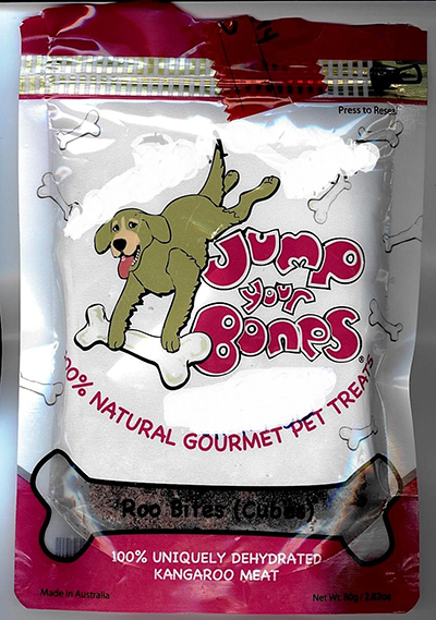 Label, Jump Your Bones brand Roo Bites (Cubes) pet treats
