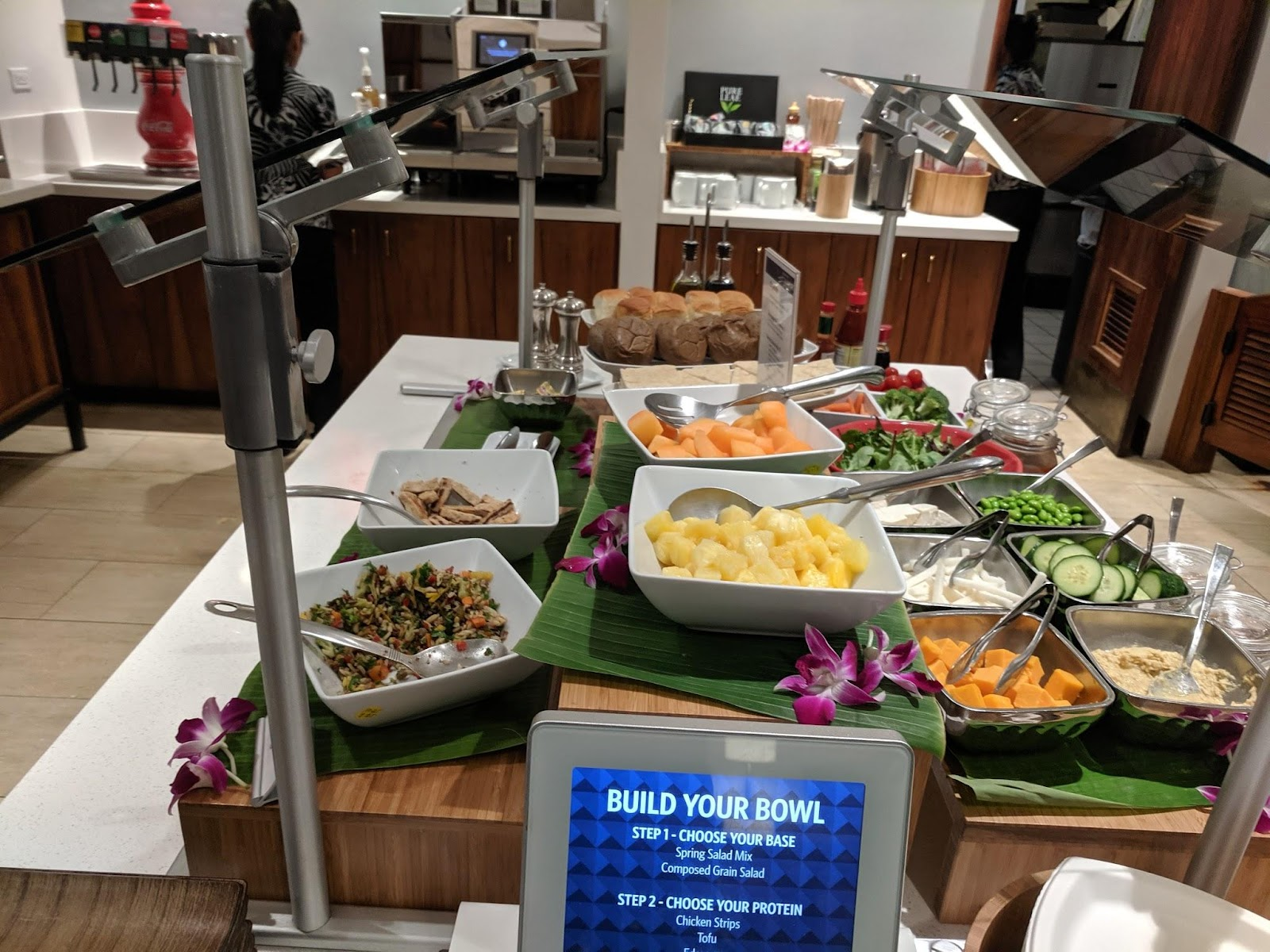Salad bar at Delta Sky Club Honolulu