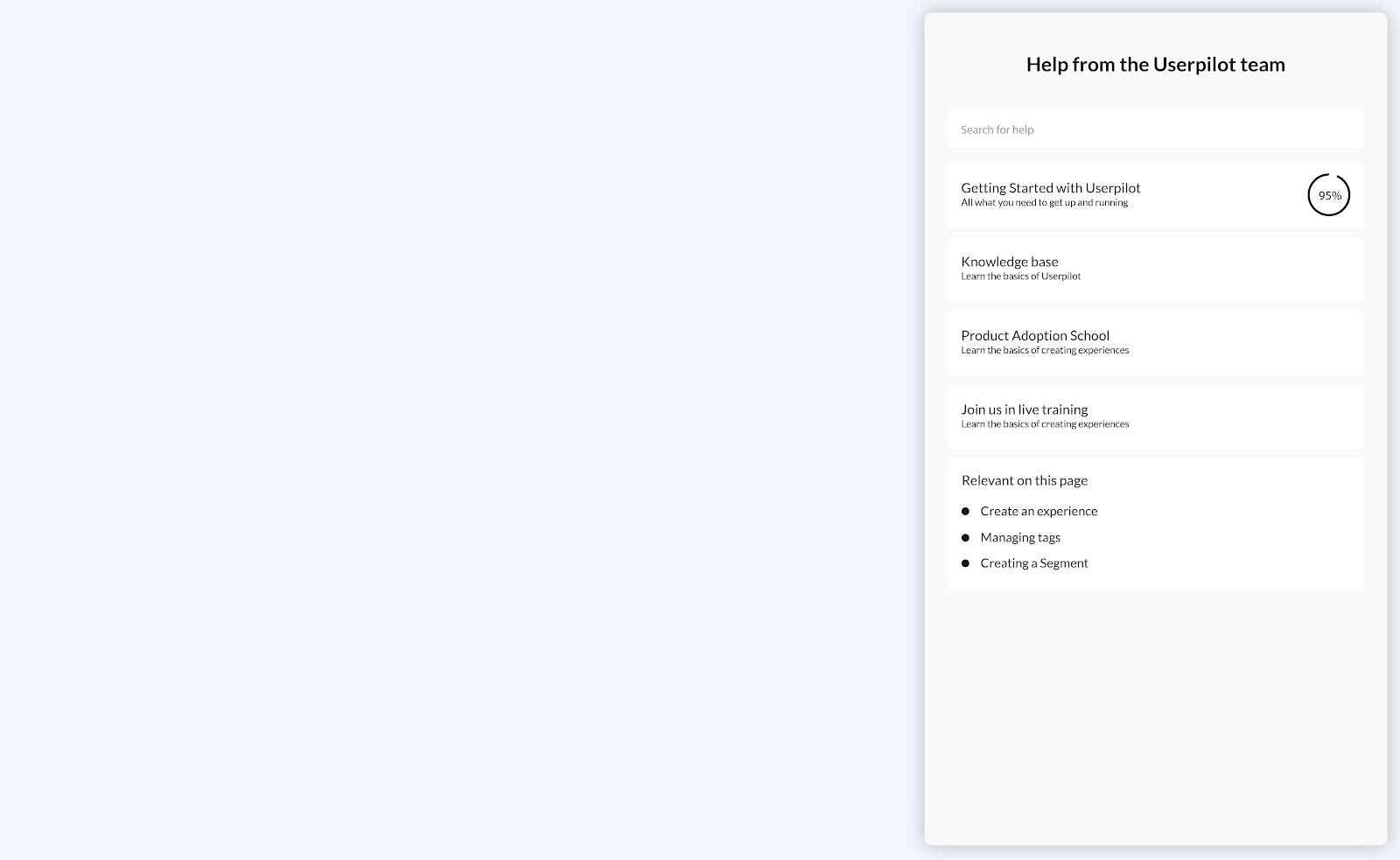 in-app help widget