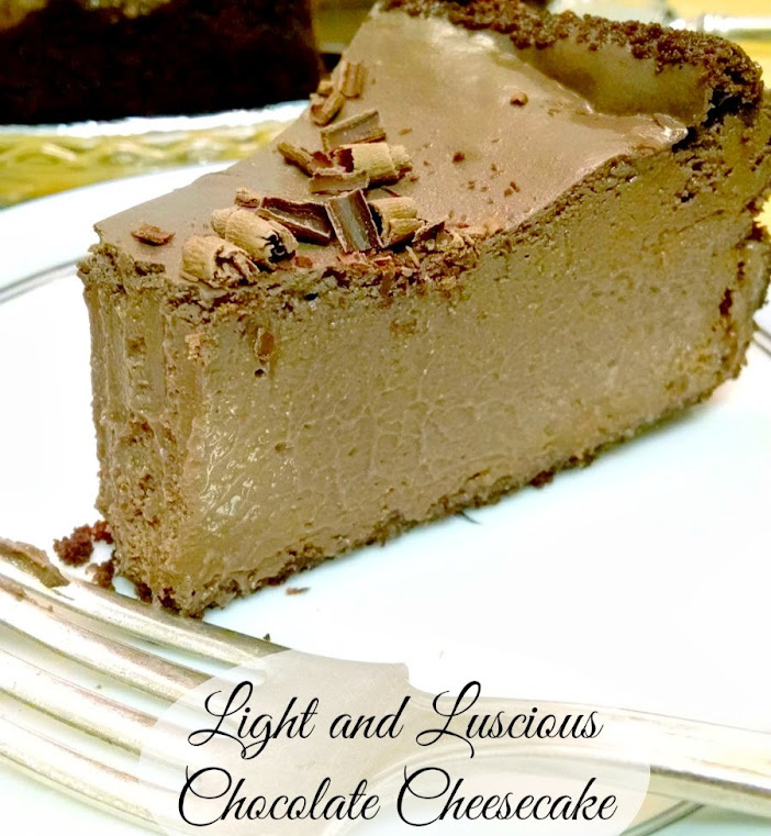 Light and Luscious Chocolate Cheesecake – Lighten Up the Holidays #SundaySupper
