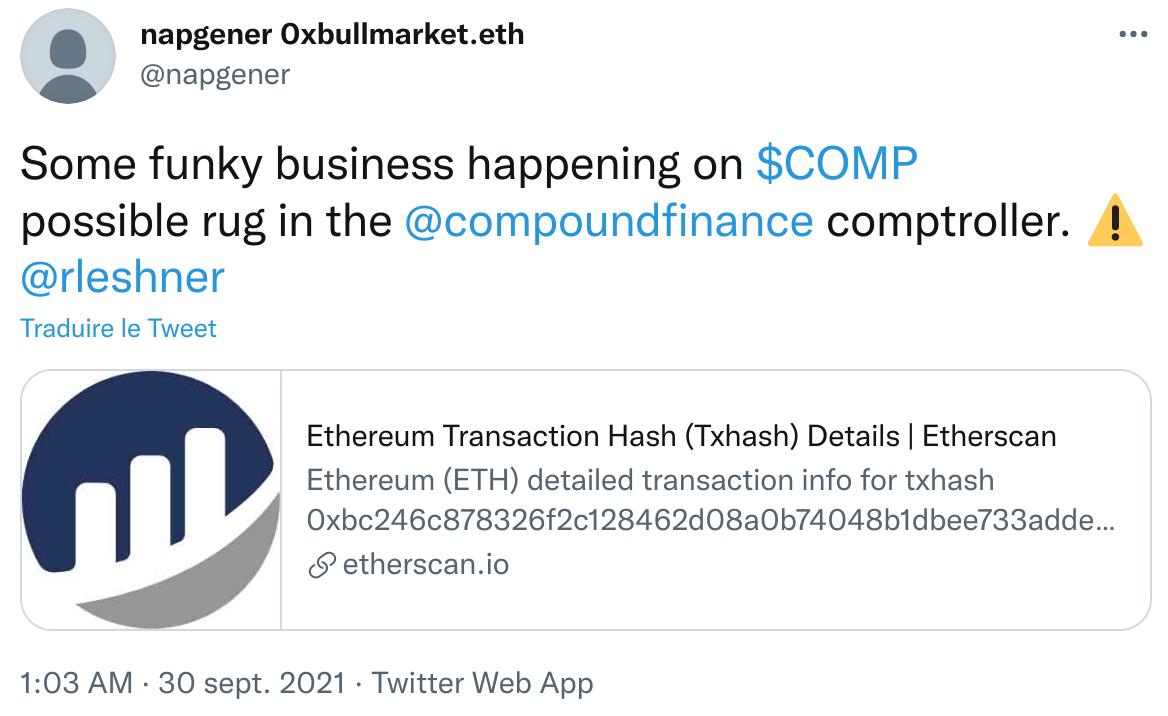 Publication Twitter de napgener constatant plusieurs milliers de jetons COMP de récompenses transférés par Comptroller