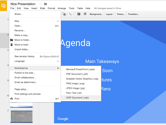 Export Google Slides in ODP file format menu screenshot