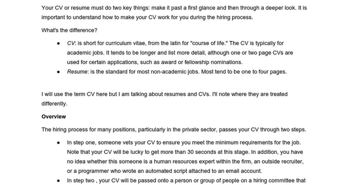 cv and resume tips google docs