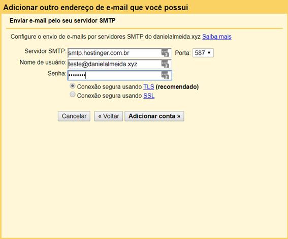 tela para configuração de envio de email por servidores smtp