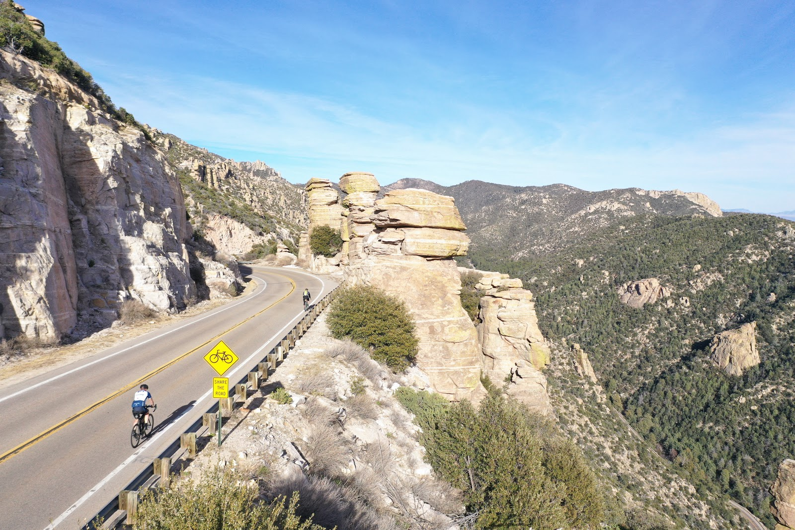 Bicycle climb Mt. Lemmon - photo of cyclists near Windy Point.