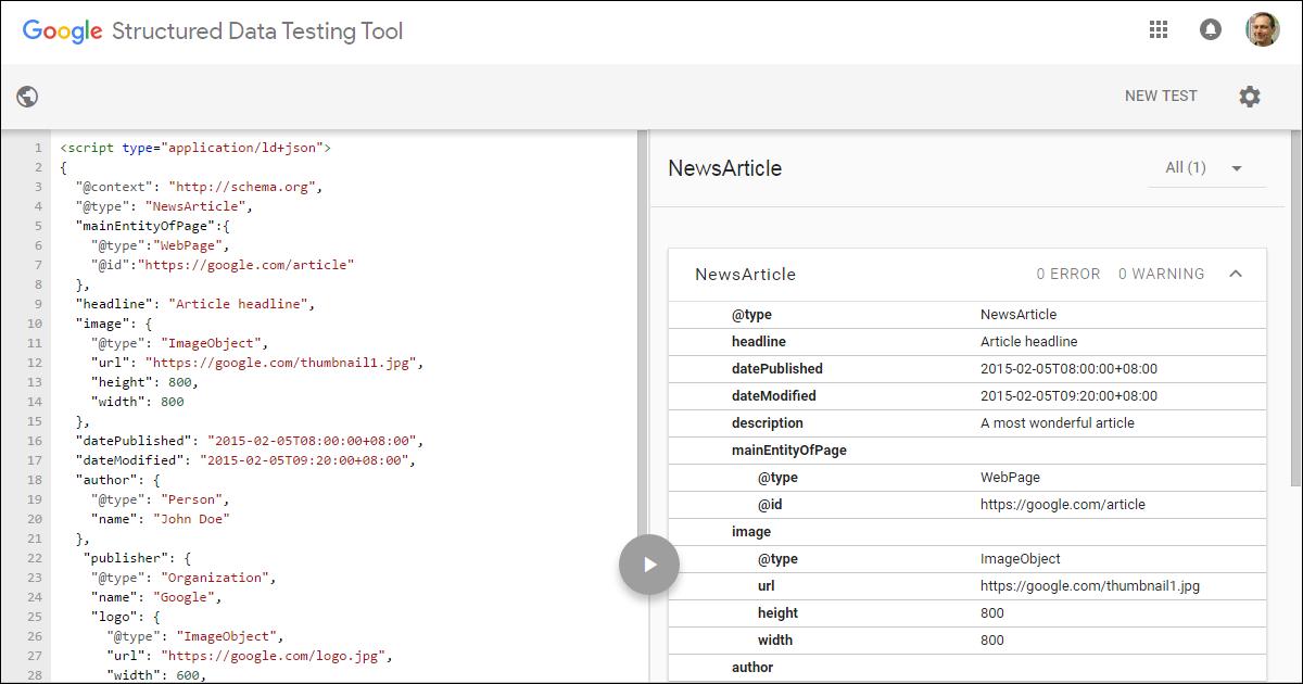google data testing tool