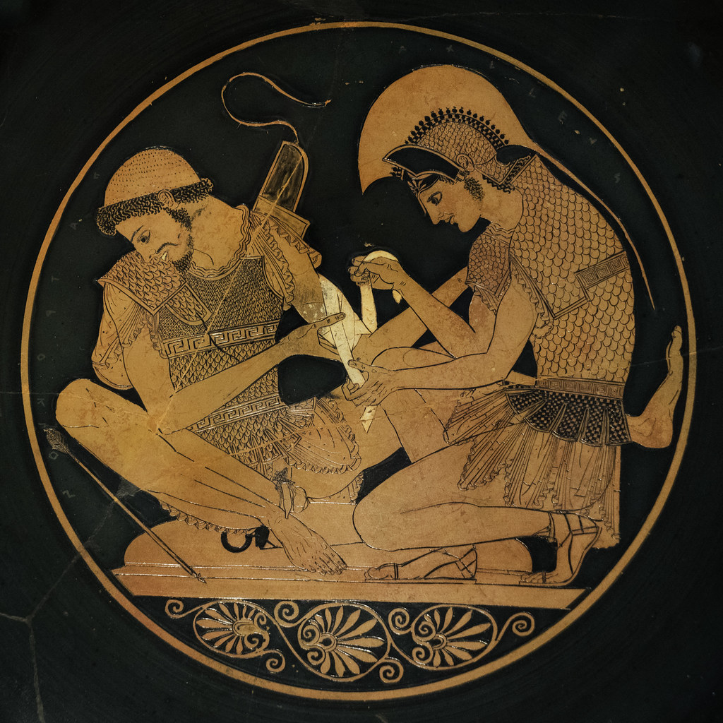 Classic image from Iliad pictured Achilles and Patroklos