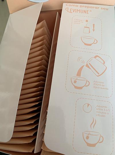 caixa levimune com instruções de como preparar