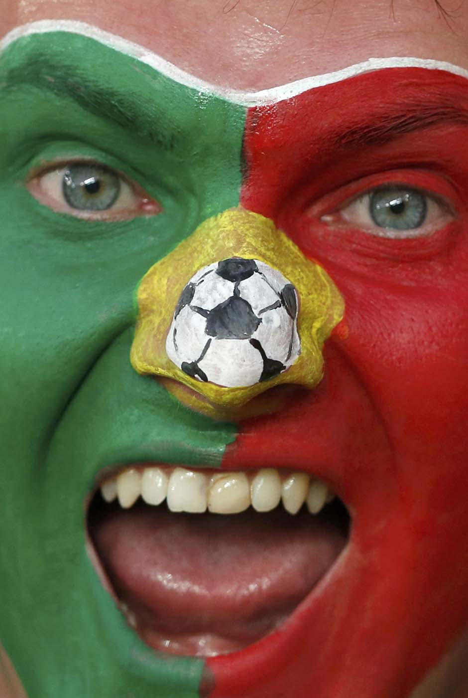 A Portuguese soccer fan with face painted in national flag colours smiles before their Group B Euro 2012 soccer match against Netherlands at the Metalist stadium in Kharkiv, June 17, 2012.  REUTERS/Alessandro Bianchi (UKRAINE  - Tags: SPORT SOCCER)   ORG XMIT: ZIG503