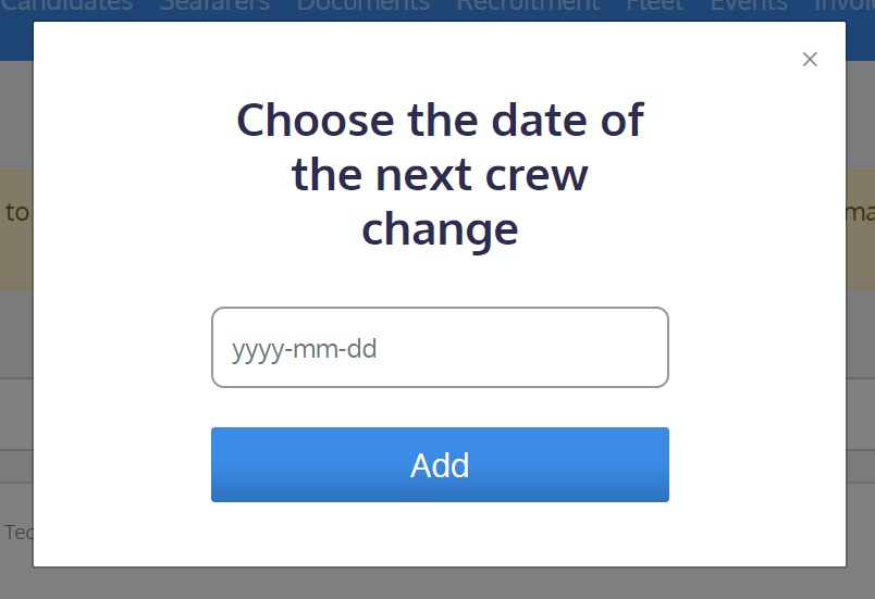 screenshot of the Martide website showing where to enter the crew change date