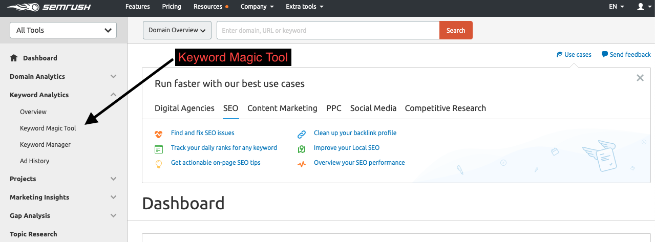 SERVPRO Blogs using the Keyword Magic tool