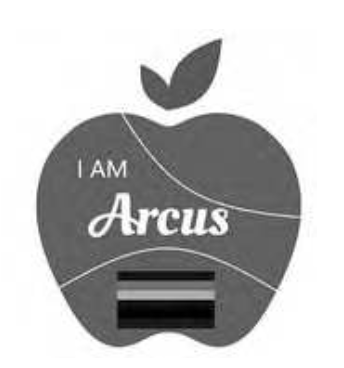 """An image of the applied-for logo. An apple shape with """"I Am Arcus"""" written on it."""