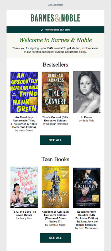 Barnes & Noble marketing email.