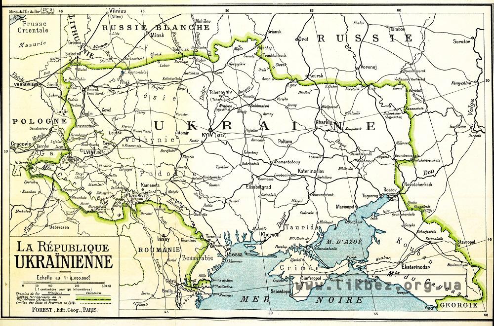 Українська республіка. Карта делегації УНР для Паризької мирної конференції 1919 р.