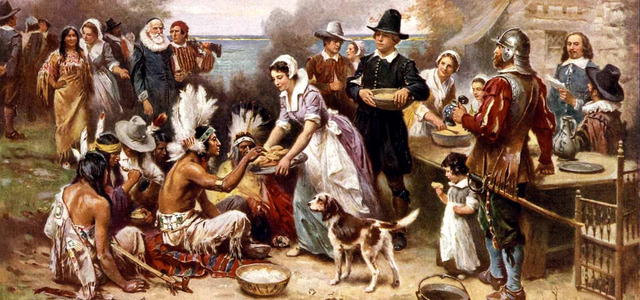 Файл:The First Thanksgiving Jean Louis Gerome Ferris.png — Википедия