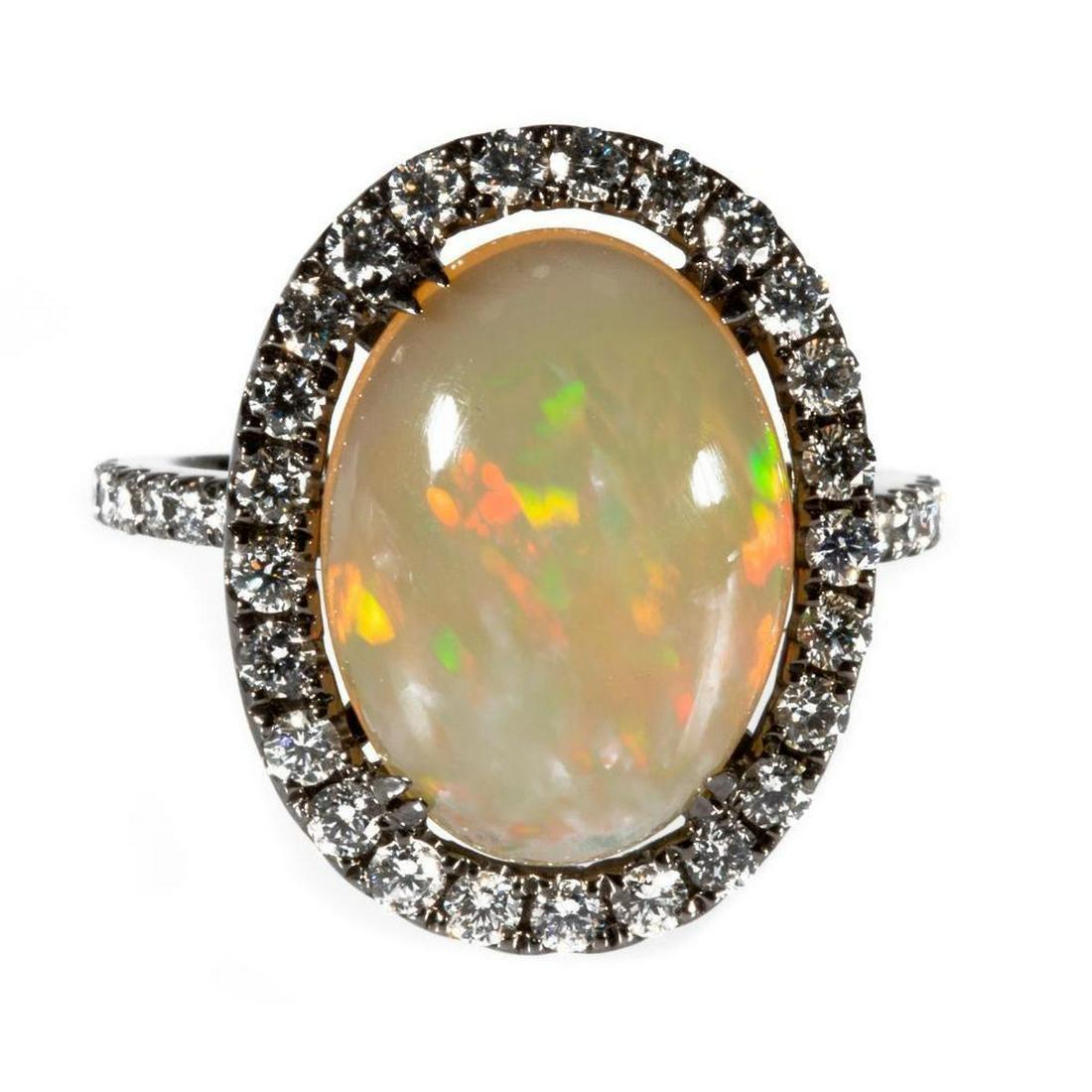 Opal, diamond and 18k blackened gold ring