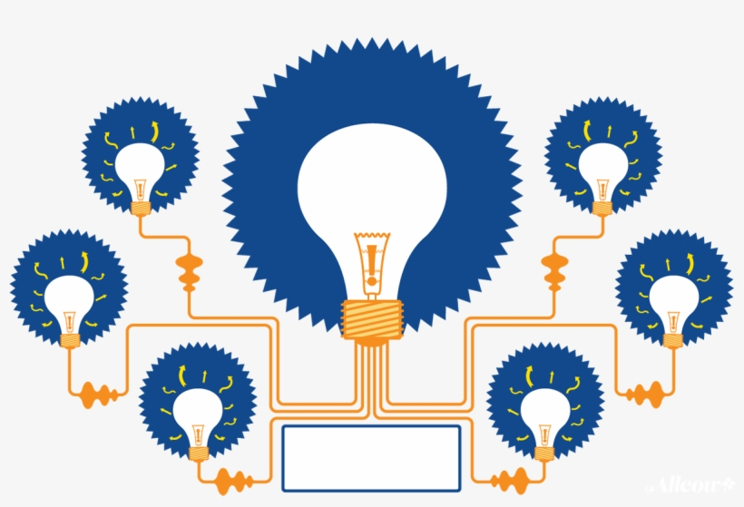 Lightbulbs connecting symbolizing mind mapping and the creative idea forming process.