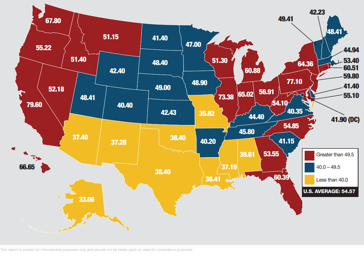 tributação da gasolina nos estados dos eua