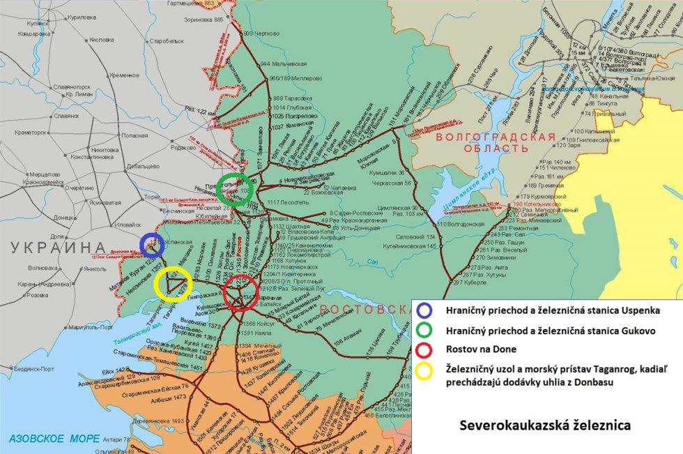 Карта железных дорог юго-запада России на границе с оккупированным Донбассом. / Фото: dennikn.sk