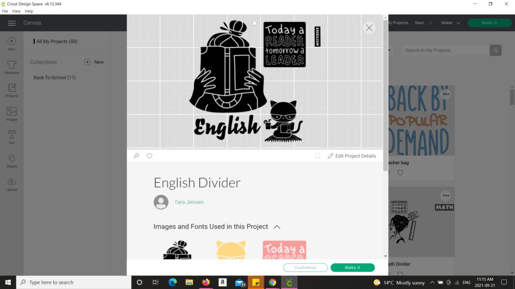 Cricut design space showing English design
