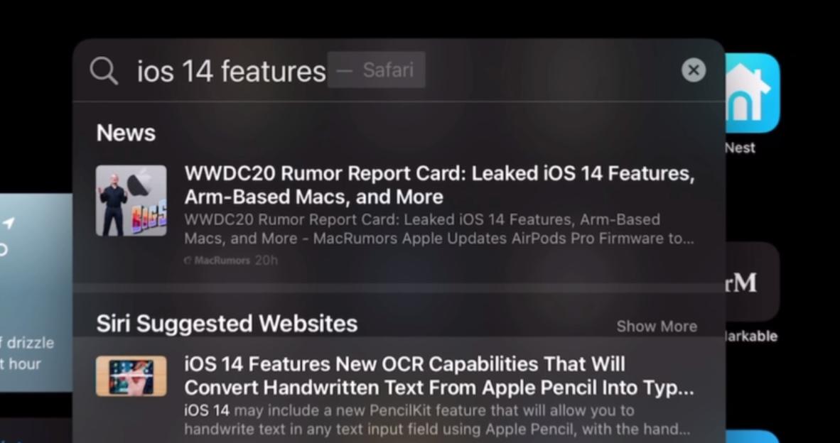 Выдача поисковой системы Apple в Spotlight