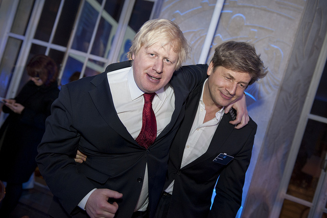 Boris Johnson with Leo Johnson. Image, Financial Times, CC2.0, some rights reserved.