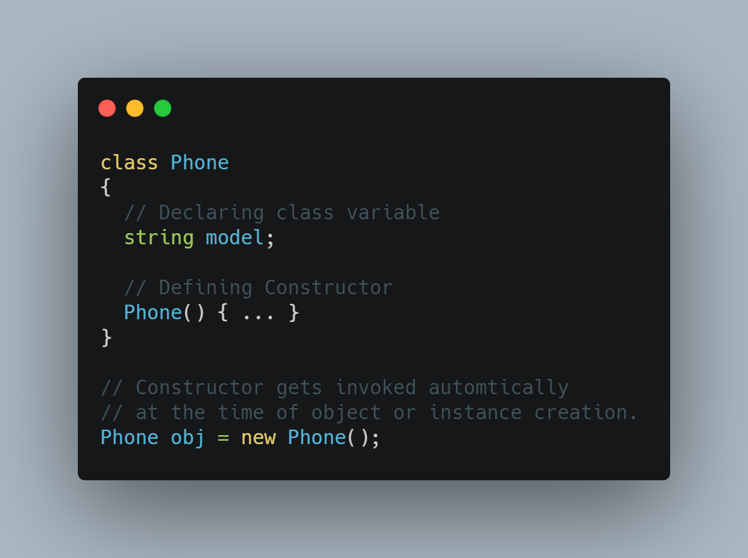 java constructor example code