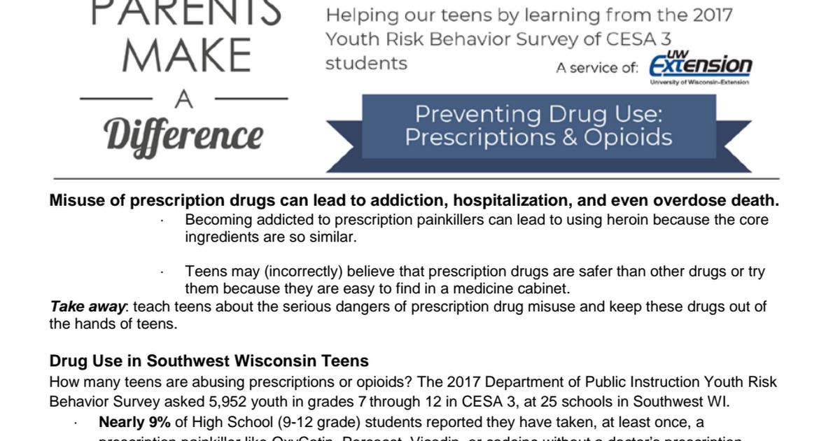 Preventing Drug Use Prescriptions And Opioids 2017 Pdf Google Drive