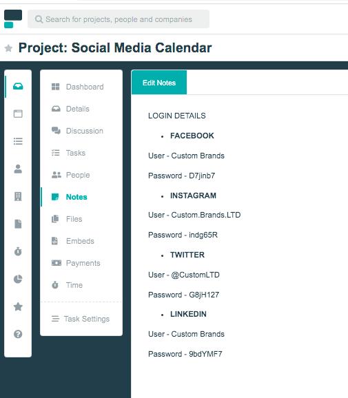 Project.co social media calendar