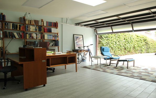 How to convert your garage into a home office for Convert two door garage into one
