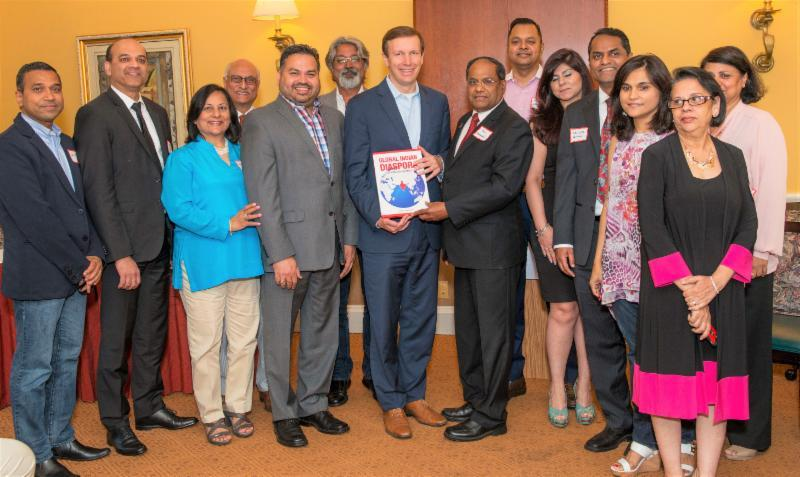 GOPIO-CT officers with Senator Chris Murphy at the community reception and interactive meeting held in Stamford, CT