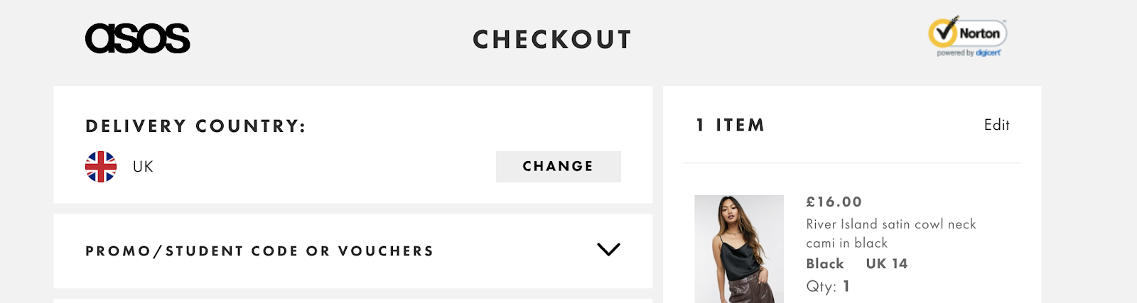 Example of ASOS checkout page