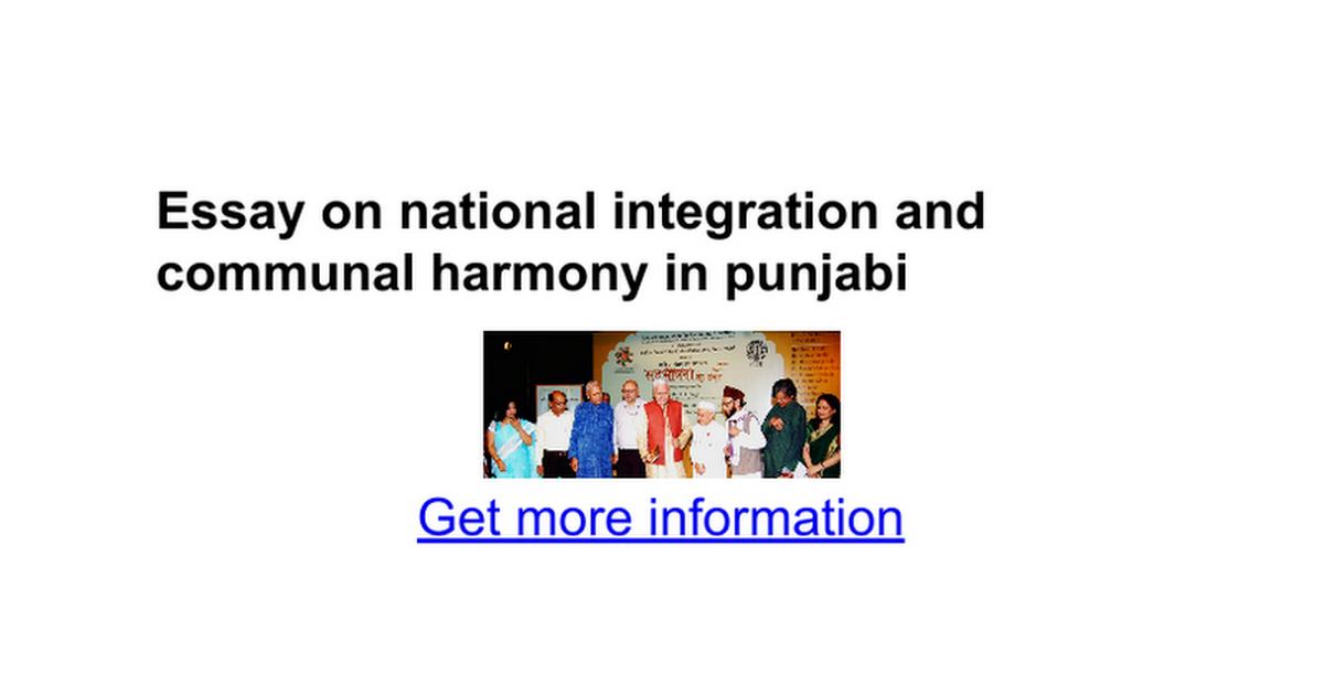 essay on national integration and communal harmony in punjabi  essay on national integration and communal harmony in punjabi google docs