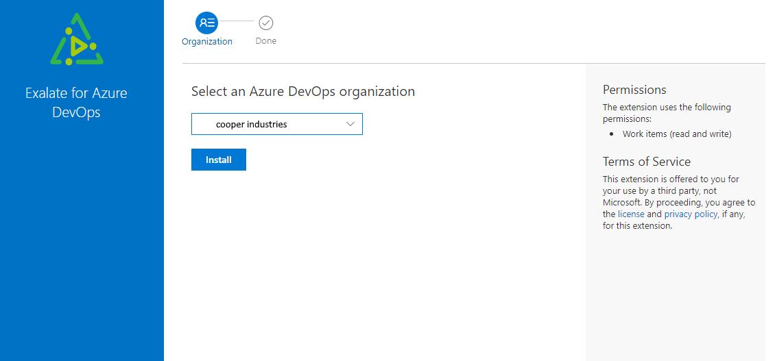 select an azure devops organization