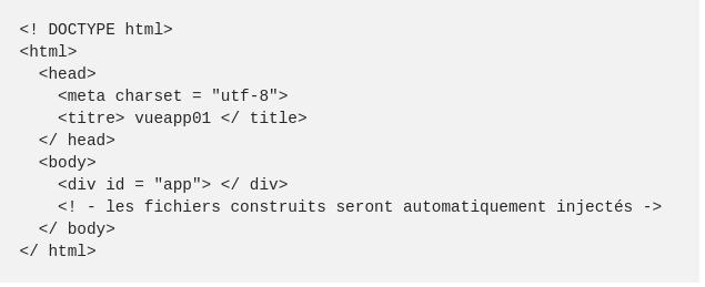 Le fichierindex.htmlcontient le code HTML