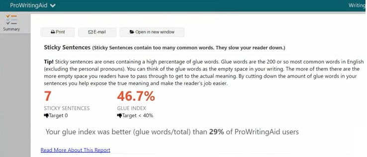 what does ProWritingAid show as a sticky sentence