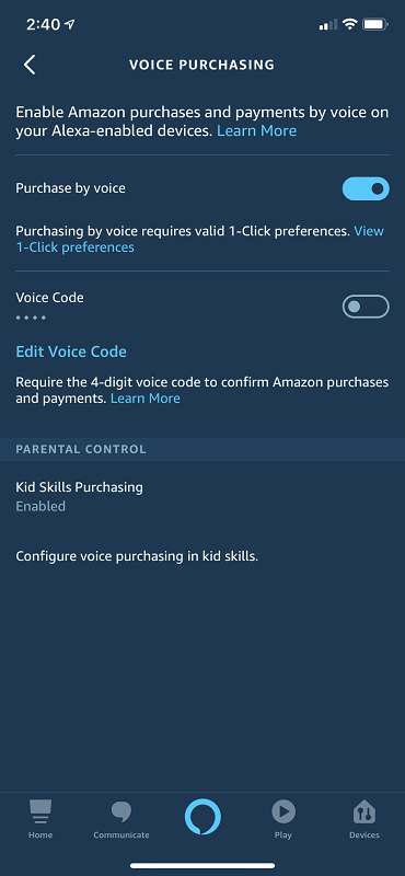 Voice Purchasing Settings in the Alexa App