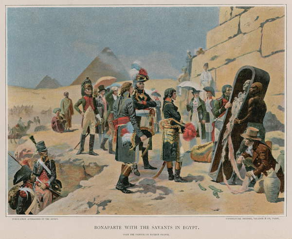 Image of Bonaparte with the savants in Egypt. Illustration for the Life of Napoleon Bonaparte by William Milligan Sloane (The Century Co, 1896). From the painting by Maurice Henri Orange, © Look and Learn / Bridgeman Images