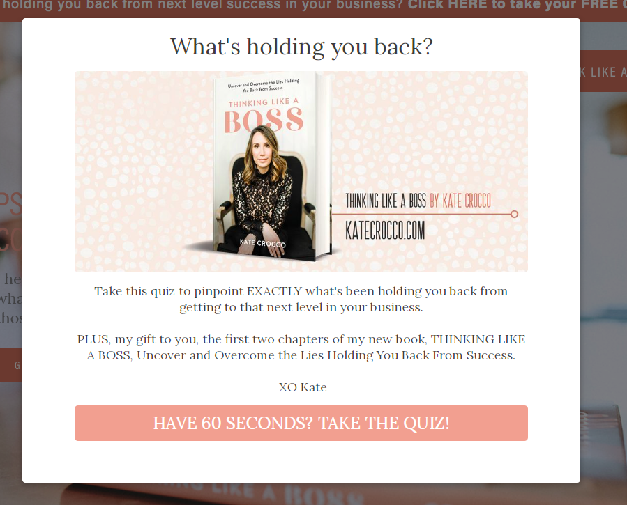 What's holding you back quiz popup with image, quiz description, and CTA