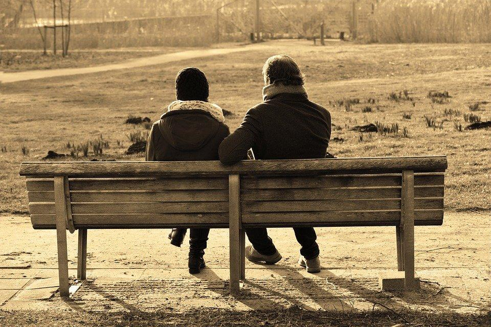 People, Man, Woman, Couple, Sitting, Together, Bench