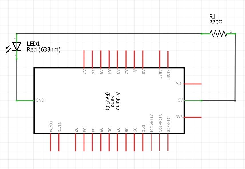 Принципиальная схема. Подключение светодиода к плате Arduino.