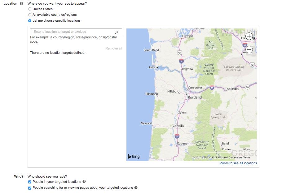 Screenshot showing Bings Location options