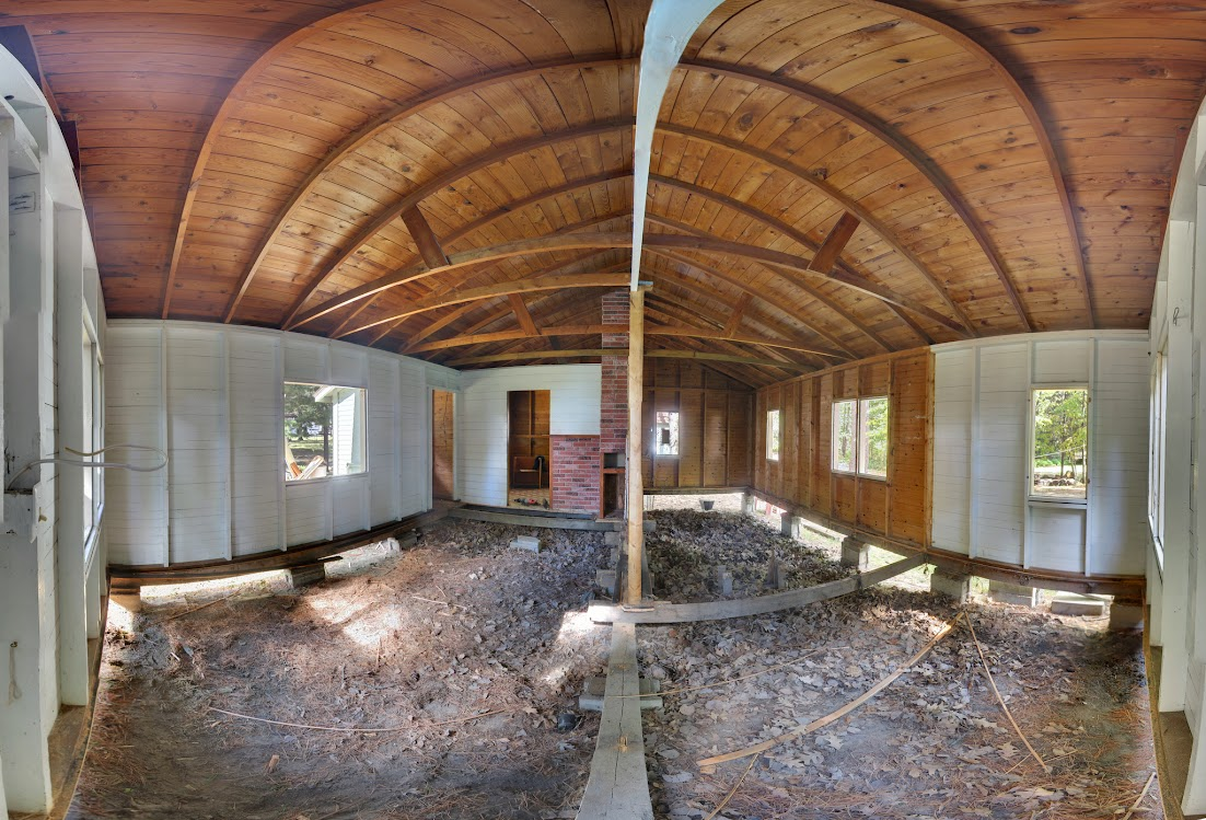 Interior of cabin 8 with flooring removed