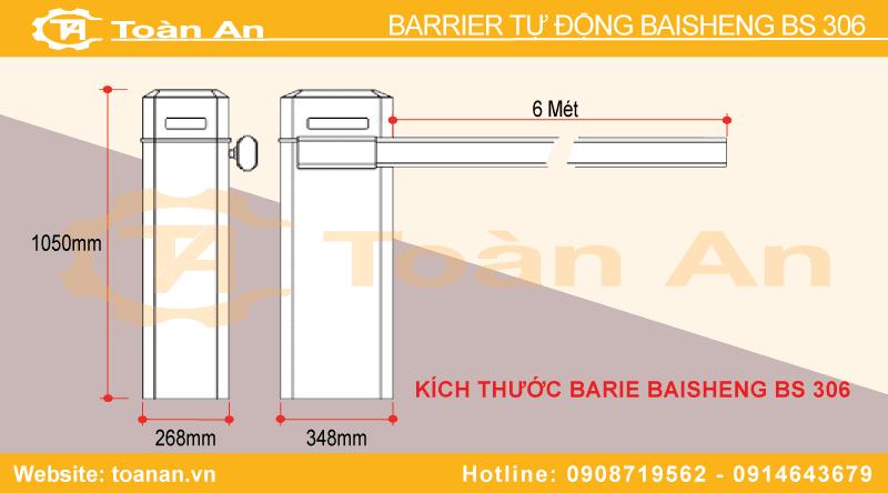 Kích thước barrier tự động baisheng bs 306