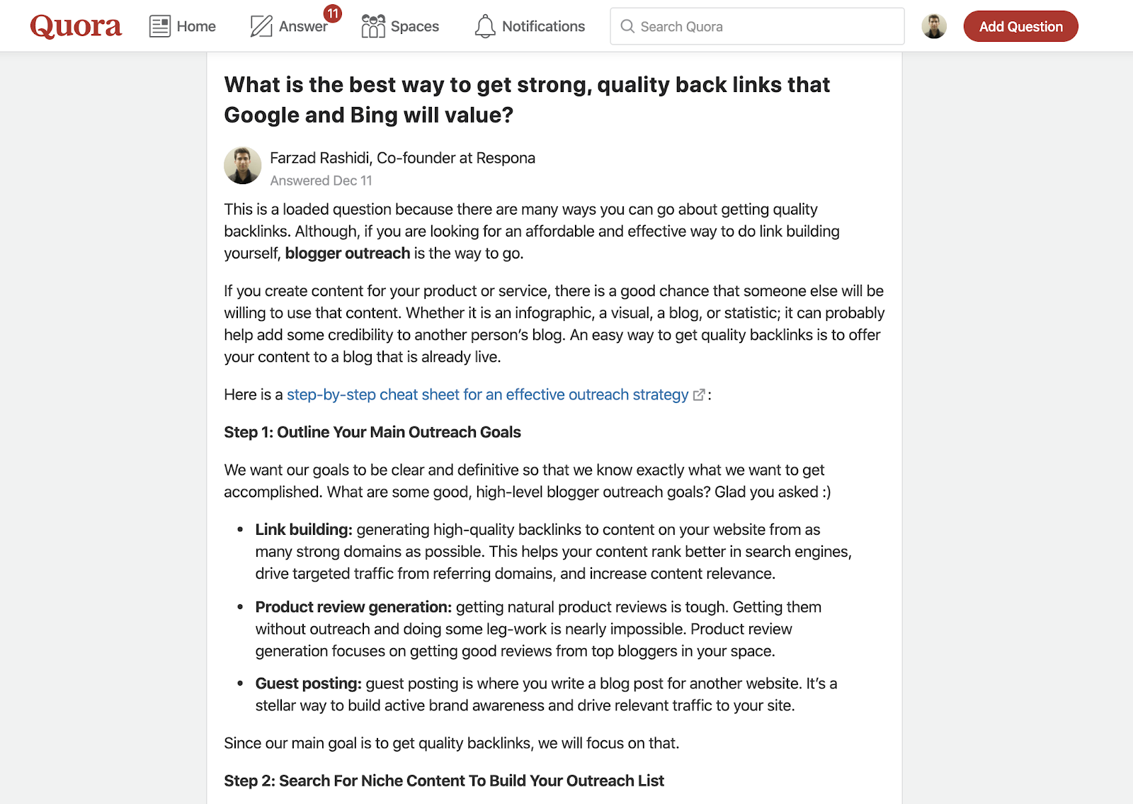Screenshot of a Quora answer written about website promotion by Respona's co-founder.