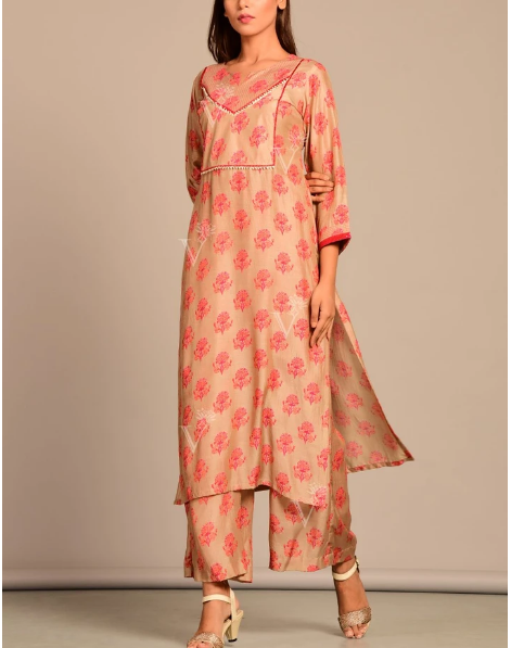 Vasansi Brown Printed Kurta Set