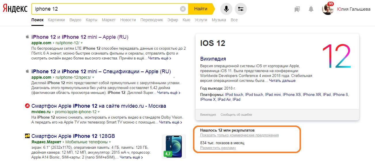 скриншот фильтра в выдаче Яндекса