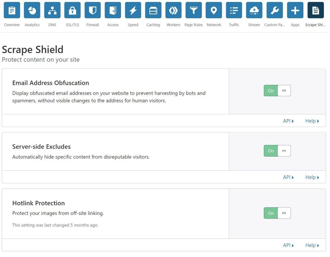 Cloudflare Scrape Shield settings