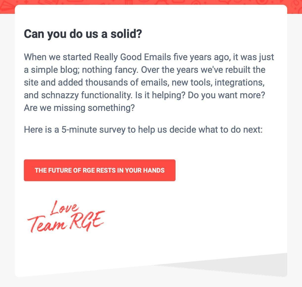 Really Good Emails survey email example