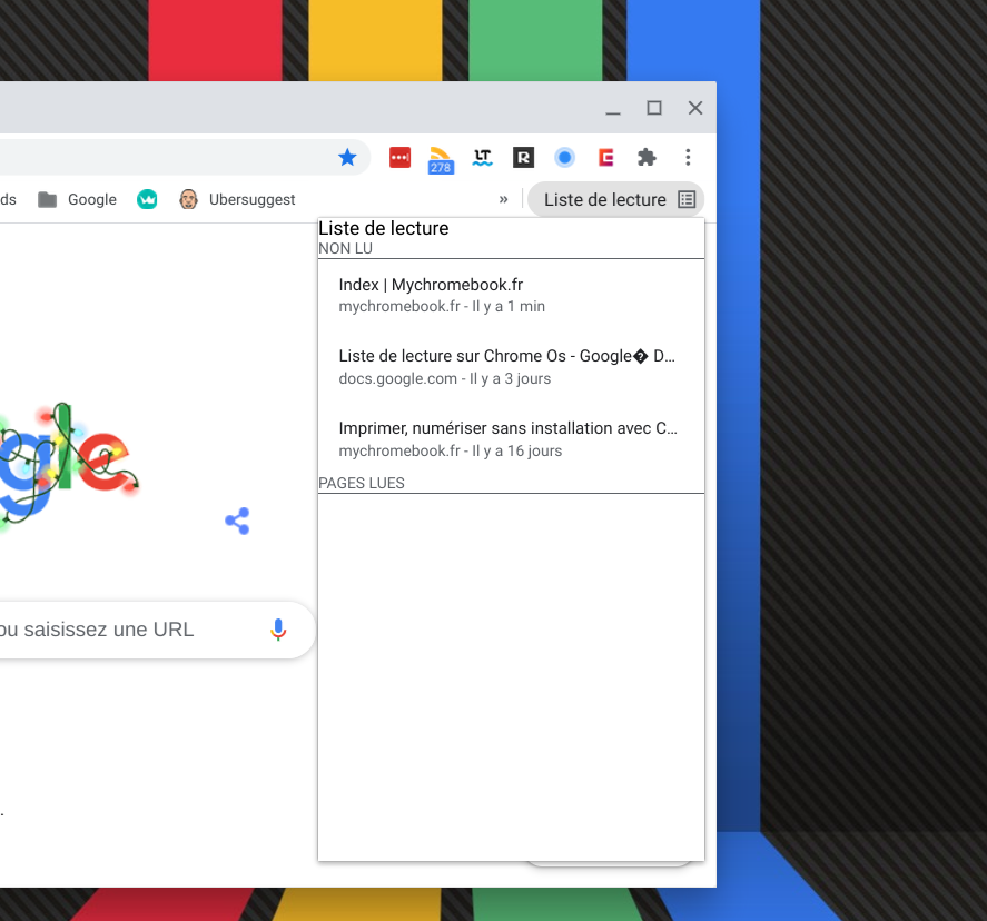 La liste de lecture intégrée à Chrome Os